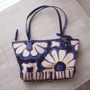 COACH Blue Poppy Floral Canvas Shoulder Bag
